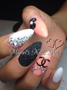 Nails <3 chanel, rhinestones, melon, white, black, bow