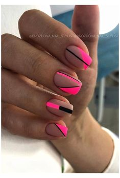 Summer Acrylic Nails, Best Acrylic Nails, Matte Nails, Square Nail Designs, Short Nail Designs, Striped Nail Designs, Unhas Monster Energy, Hair And Nails, My Nails