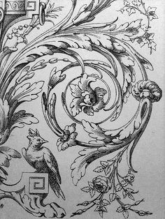 """""""All hail the acanthus motif"""" Ornament Drawing, Grisaille, Carving Designs, Scroll Design, Gravure, Chinoiserie, Wood Carving, Cool Drawings, Art Decor"""