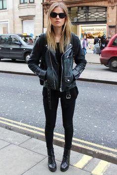 black leather jacket, black skinny jeans, black combat boots, black cami