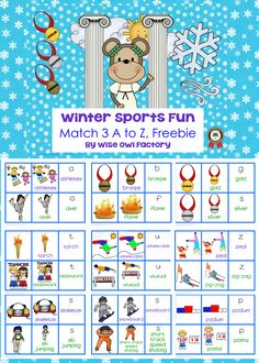 3 part card matching for the winter sports at the Olympics, a to z