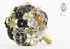 Bouquet de Broches Preto e Dourado