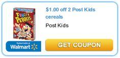 $1.00 off 2 Post Kids cereals