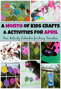 30 spring preschool crafts & activities for April! A month of crafts and learning activities with spring, Earth Day, & bug themes! Free Activity Planner!