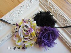 Shabby Rosette Skinny Headband  by TheRogueBaby,