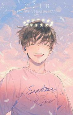 Immagine di fanart, kpop, and Seventeen (Vernon) Hot Anime Boy, Cute Anime Guys, Anime Boys, Anime Boy Smile, Kpop Fanart, Got7 Fanart, Manga Anime, Art Manga, Kawaii Anime