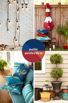 Create a distinctive look on a patio outfitted with stylish elements that reflect your personality. Playful pillows, colorful umbrellas, planters, twinkling string lights, and lanterns, create an ambiance that's all your own.