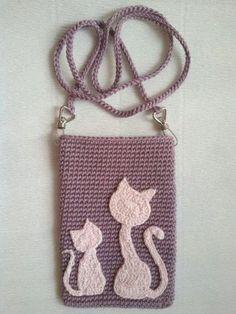 Ideas Crochet Cat Applique Pattern Etsy For 2019 Crochet Wallet, Free Crochet Bag, Crochet Baby Bonnet, Crochet Phone Cases, Crochet Diy, Crochet Tutorial, Crochet Angel Pattern, Crochet Patterns, Cat Applique