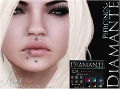 :Diama:Diamante: Lust Facial Piercing - NEW RELEASE!!  Comes as UnRigged Mesh with Resize & Multiple Texture Option HUD. Multiple texture options with every piece! Every part can be changed to match your outfit or mood accordingly. Hope you like them! More to come! Alli   http://maps.secondlife.com/secondlife/Dark%20Eternal%20Rose/128/131/28 nte: Lust Facial Piercing - Ad