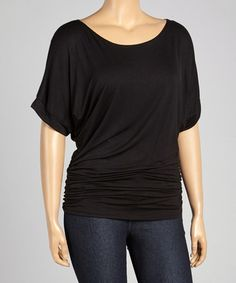 Another great find on #zulily! Black Ruched Cape-Sleeve Top - Plus by Poliana Plus #zulilyfinds