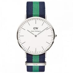 Daniel Wellington Classic Canterbury Watches at WATCH IT! Classic and timeless. This Daniel Wellington watch features a white dial, striped nato strap, quartz Japanese movement, and casing. Daniel Wellington Damen, Daniel Wellington Classic, Daniel Wellington Watch, Mens Dress Watches, Casual Watches, Watches For Men, Women's Watches, Wrist Watches, Online Shopping