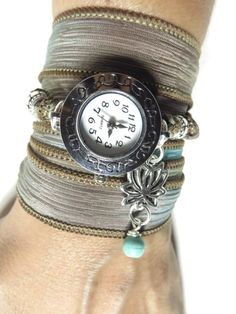 Lotus Silk Wrap Watch Yoga Jewelry Bohemian Aqua Wrist Band Watch Bracelet Yoga Wrap Boho Chic Watch Christmas Stocking Stuffer Unique Gift