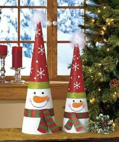 Add some sparkle to your home with the Tree-Shaped Holiday Decor. Glittery metal cones feature bright and iconic designs. Each is topped with a fuzzy, whi Christmas Crafts For Kids, Christmas Art, Christmas Projects, All Things Christmas, Holiday Crafts, Holiday Decor, Silver Christmas Decorations, Diy Christmas Ornaments, Paper Flowers