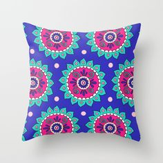 Violet Blue Flower Motif Throw Pillow by PeriwinklePeacoat