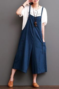 Cowboy Blue Causel Loose Overalls Big Pocket Trousers Women Clothes Clothes will not shrink,loose Cotton fabric, soft to the touch. *Care: hand wash or machine wash gentle, best to lay flat to dry. Overalls Women, Trousers Women, Pants For Women, Clothes For Women, Linen Skirt, Linen Pants, Linen Dresses, Pantsuits For Women, Jumpsuits For Women