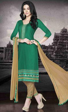 USD 26.00 Green Cotton Churidar Suit 48434 Hi Fashion, Ethnic Fashion, Indian Fashion, Womens Fashion, Churidar Suits, Shalwar Kameez, Anarkali Suits, Pakistani Girl, Pakistani Dresses