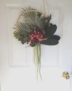 embroidery hoop wreath / summer wreath / tropical wreath / boho wreath