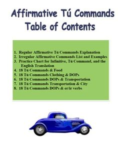 Spanish Commands - informal affirmative tú commands lessons with 5 homework assignments!