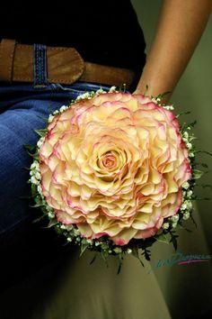 Yellow roses with pink border composite wedding bouquet. Flower Garland Wedding, Diy Wedding Flowers, Bridal Flowers, Floral Wedding, Bride Bouquets, Floral Bouquets, Bridesmaid Bouquet, Hot Pink Weddings, Bridal Hair Updo