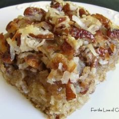 oatmeal cake with coconut pecan frosting. Mother of all that is dessert. My mom made this last night. I am making this later today. It's that good.