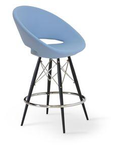 Crescent - MW Bar Stool- Sky Blue Leatherette