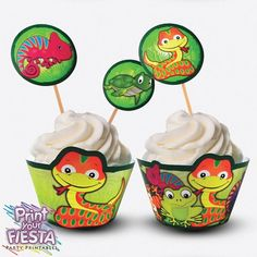 Print Your Fiesta Reptile Party printable cupcake Kit - cupcake wrappers and toppers, chamaleon, lizard, crocodile, frog, snake, turtle