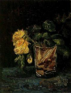 Glass with Roses  Oil on cardboard on multiplex board  35.0 x 27.0 cm.  Paris: Summer, 1886