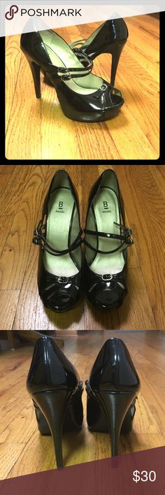 "Black ""Kristine"" peep-toe heels!!  👠 These are gently used black heels by ""Bakers"". Bakers Shoes Heels"