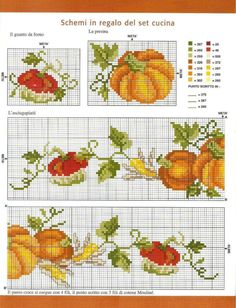 Zucca cucina punto croce Cross Stitch Family, Fall Cross Stitch, Cross Stitch Fruit, Cross Stitch Kitchen, Cross Stitch Needles, Beaded Cross Stitch, Cross Stitch Borders, Crochet Cross, Cross Stitch Flowers