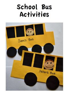Included are ideas for using a school bus in a safety unit, and patterns for a school bus art project. This activity teaches shape vocabulary, color vocabulary and fine motor cutting practice. The art project can be used for bulletin boards, or other School Bus Art, School Bus Crafts, School Bus Safety, Back To School Art, Daycare Crafts, Back To School Activities, Preschool Activities, Back To School Crafts For Kids, Dementia Activities