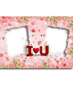 Postal de San Valentín para poner dos fotos, con el texto I LOVE YOU con forma de corazón. http://www.fotoefectos.com