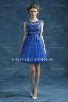 Ball Gown Scoop Short/Mini Lace Satin Prom Dress