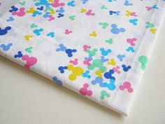 Cotton Fabric White with Mickey Minnie style Blue green pink Yellow ,colorful fabric, Cotton Cartoon Fabric,kid dress, pillow cover, CT198