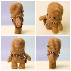 Ravelry: Chewbacca Star Wars amigurumi pattern by Paula Fuentes - Onpoki Star Wars Crochet, Crochet Stars, Crochet Geek, Crochet Patterns Amigurumi, Cute Crochet, Amigurumi Doll, Crochet Crafts, Crochet Dolls, Crochet Projects