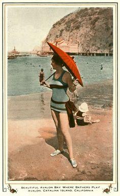 Vintage bathing.  Avalon, Catalina Island California