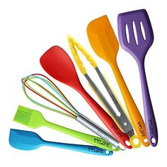 TTLIFE Silicone Spatula Utensil Kitchen Colorful 7 Pieces With Turner Slotted spoon Ladle Spoon Spoon Spatula Spooula Spatula Basting brush *** Visit the image link more details. (This is an affiliate link and I receive a commission for the sales) #KitchenUtensils