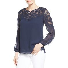Women's Kobi Halperin Serena Lace Yoke Silk Blouse ($398) ❤ liked on Polyvore featuring tops, blouses, midnight blue, see through blouse, sheer sleeve top, sheer sleeve blouse, crinkle blouse and lace yoke top