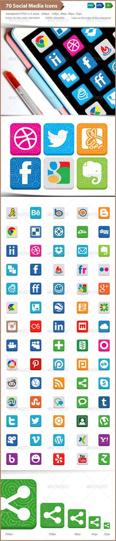 Social Media Icons Patterns and Textures  #GraphicRiver         - Patterns and textures as a base for the icon   - Each icon is available formats (Vector 100%)   - You can easily customize the colors on the EPS & AI version Works on any color   - Contains: AI & EPS vector file (scalable to any size)   - Transparent PNG in 5 sizes : 256px , 128px, 96px, 64px, 32px   - 70 Social Media Icons     1. Aim   2. Behance   3. Bing   4. Blinklist   5. Blogger   6. Chrome   7. Delicious   8. DesignFload   9. Deviantart   10. Digg   11. Diigo   12. Dribble   13. Dropbox   14. Email   15. Evernote   16. Expose   17. Facebook   18. FeedBurner   19. Flickr logo   20. Flickr icon   21. Formspring   22. Friendfeed   23. Friendster   24. Google   25. Google +   26. Google Buzz   27. Google voice   28. Google earth   29. Gowalla 30. ICQ   31. Instagram   32. Lastfm   33. Linkedin   34. Mixx   35. Mobile me   36. My video   37. Myspace   38. Netvibes   39. Newsvine   40. Orkut   41. Picasa   42. Pinterest   43. Plaxo   44. Plurk 45. Qik   46. Reddit   47. Rockmelt   48. Rss   49. Sharethis   50. Skype   51. Stumbleupon icon   52. Stumbleupon logo   53. Talk 54. Technorati   55. Tumblr   56. Twitter icon   57. Twitter logo   58. Ubuntu   59. User with frame   60. Utorrent   61. Viddler   62. Vimeo   63. Wordpress   64. Xing   65. Yahoo   66. Yahoo buzz   67. Yahoo messenger   68. Yelp   69. Youtube   70. Zootool     Created: 3July13 GraphicsFilesIncluded: TransparentPNG #VectorEPS #AIIllustrator HighResolution: Yes Layered: Yes MinimumAdobeCSVersion: CS Tags: SocialIssues #add #bookmark #calendar #coding #communicationstechnology #computericon #connection #downloading #e-mail #envelope #iconset #interfaceicons #label #luggagetag #mail #metaphors #multicolored #plussign #rss #set #sharing #shiny #sign #speechbubble #technology #themedia #thumbsup #upload