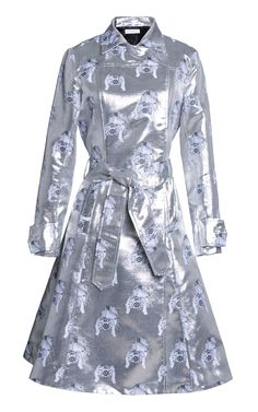 Tate Metallic Camera Jacquard Trench Coat by TANYA TAYLOR for Preorder on Moda Operandi