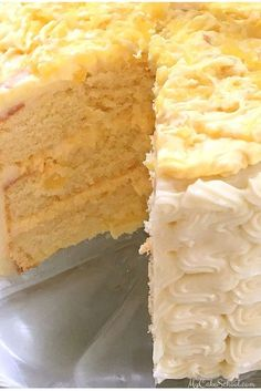 This Pineapple Cake Recipe is the BEST! Moist homemade yellow cake layers with a flavorful pineapple and cream filling and cream cheese frosting! Baking Recipes, Cake Recipes, Dessert Recipes, Baking Ideas, Just Desserts, Delicious Desserts, Gourmet Desserts, Plated Desserts, Cream Filling Recipe
