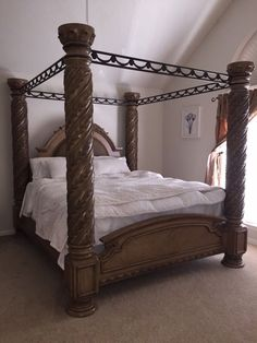 Used Canopy Bed mandalay brown cherry finish eastern king size bed frame set