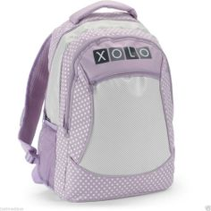 "Girls' 16"" Lavender  XOLO Backpack Polka-Dots & Stripes Print - School/Friends #XOLO  - $19.99 - June 19, 2014 - #FreeShipping"