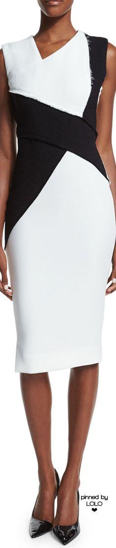 Victoria Beckham Sleeveless Asymmetric Colorblock Sheath Dress | LOLO❤
