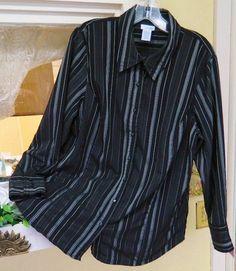 East 5th Striped Dress Blouse Shirt 1X Classic Work Cute Fun Wear w/Slacks Suit #East5th #Blouse #Career