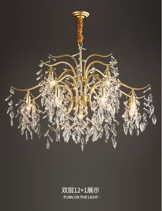 This Antique Brass Crystal Chandelier is inspired by an Asian willow tree with many branches and infusions. It expresses a feeling of freedom and the art of random. The Crystal chandelier lighting is composed by a large metal or copper frame and a number of high quality China K9 crystals. Antique Brass Chandelier, Crystal Chandelier Lighting, E14 Led, Copper Frame, Willow Tree, Branches, Freedom, Bulb, Ceiling Lights
