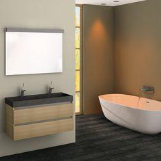 Dit greeploze badkamermeubel van Assenti is ideaal voor smalle ruimtes want het meubel is maar 38 cm diep.