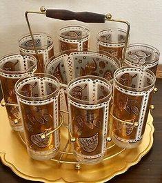 VTG Cera Cocktail Glasses 8 White Gold Leaves Round Caddy Ice Bucket Midmodern | eBay Gold Leaf, Pint Glass, My Ebay, Barware, Cocktails, Bucket, White Gold, Leaves, Ice