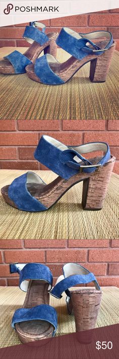 """TAKE 50% OFF! MRKT Cork Platforms with Blue Suede 50% OFF CLOSET CLEAR OUT SALE! I'm moving to NYC and need to clean out my closet before I go. Simply make me an offer for half price and it's yours!!!🌟🌟🌟🌟🌟MRKT cork platform heels with blue suede straps. Heels measure 4"""". Some gentle wear and tear but overall good condition. Super cute and comfy! MRKT Shoes Platforms"""