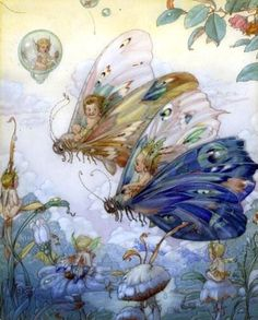 ≍ Nature's Fairy Nymphs ≍ magical elves, sprites, pixies and winged woodland faeries - Fairy Aviators by Harold Gaze. Fairy Dust, Fairy Land, Fairy Tales, Illustrations, Art And Illustration, Butterfly Illustration, Magical Creatures, Fantasy Creatures, Arte Obscura