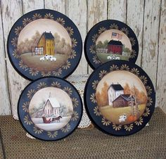 Stove Burner Covers Hand Painted Primitive Folk Art 4 Season Saltbox OFG team by raggedyjan on Etsy Primitive Plates, Primitive Kunst, Primitive Painting, Primitive Crafts, Tole Painting, Country Primitive, Painting On Wood, Pintura Country, Arte Country